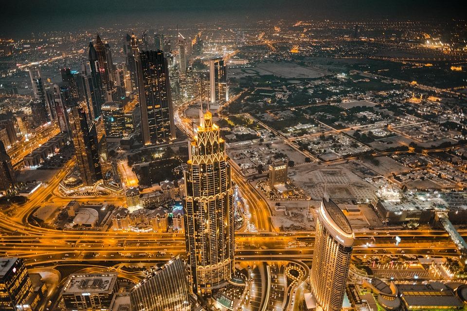 Dubai, Emirates, Burj Khalifa, Skyline, Night, View