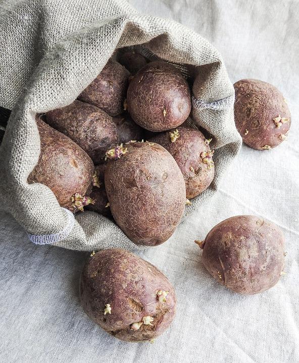 Potatoes, Bag, Sack, Burlap, Food, Vegetable, Root