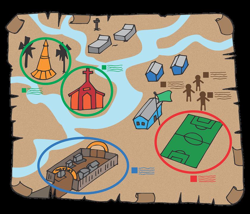 Map, Myanmar, Burma, Explore, Temple, Football Field