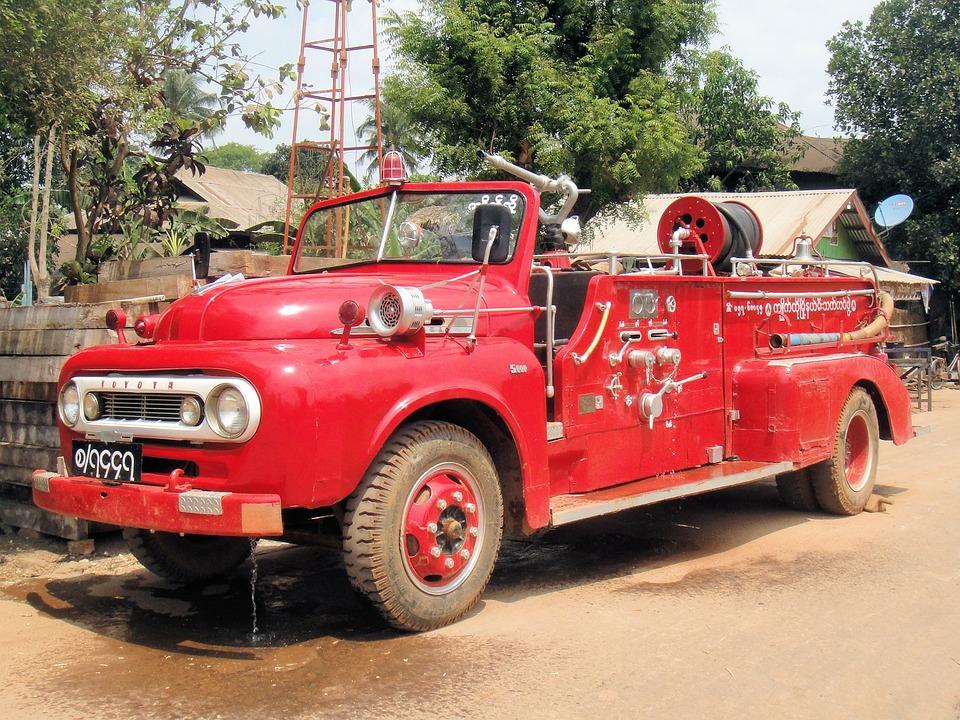 Car, Fire, Myanmar, Burma, Red, Vehicle