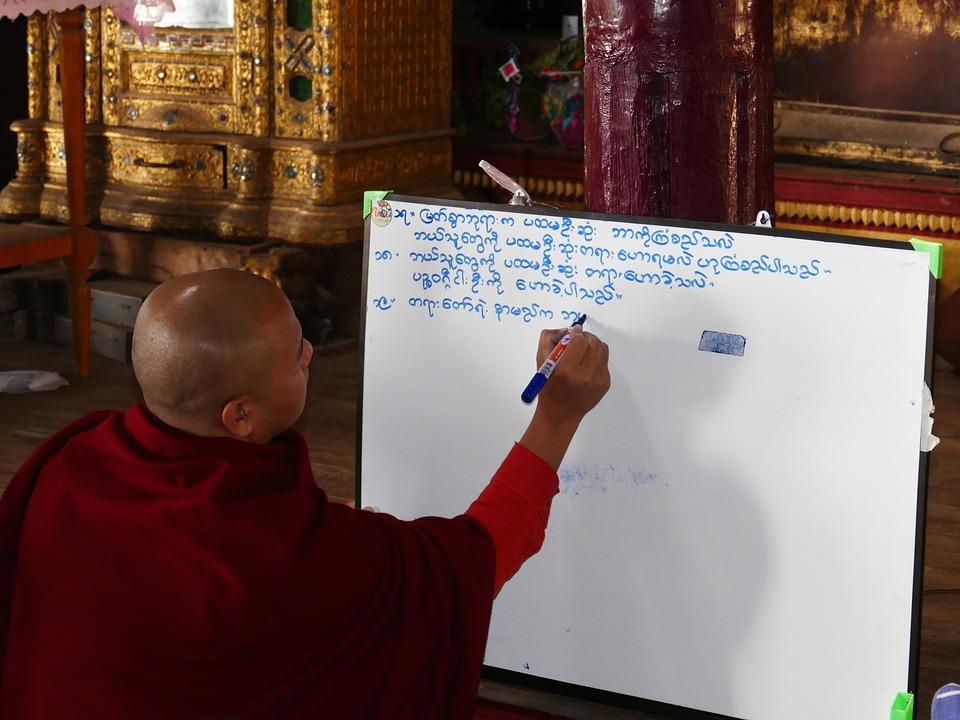 School, Leave, Monk, Burmese, Font, Board, Learn, Burma