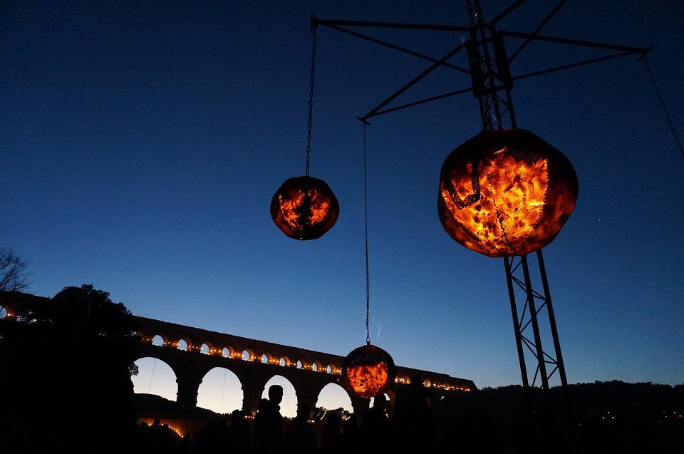 Fire, Flame, Bridge, Burn, Ball