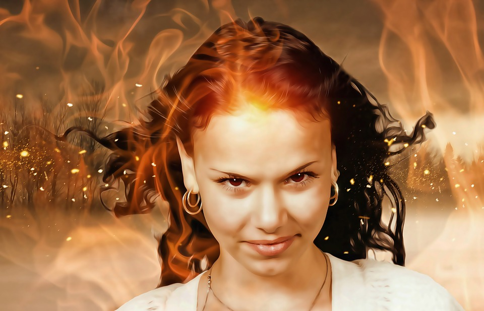 Woman, Woman In Flames, Fire Woman, Young, Burning