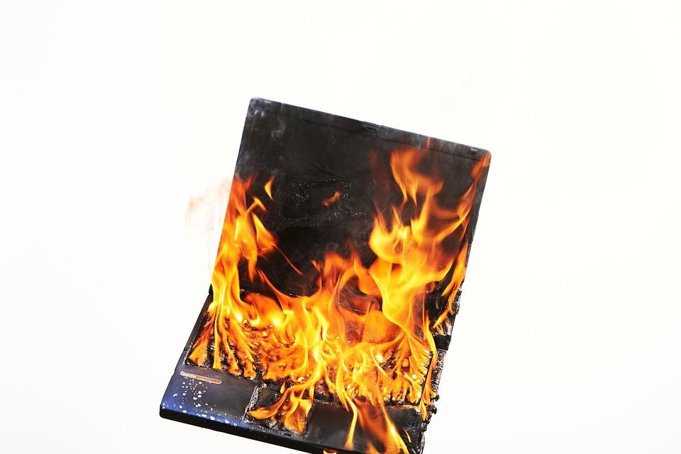 Free photo Burnout Laptop Profession Fire Stress Voltage