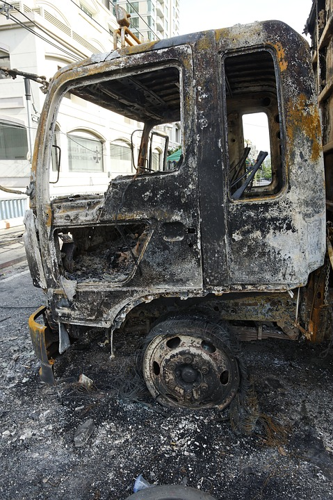 Truck, Burnt, Damage, Destruction, Destroyed, Arson