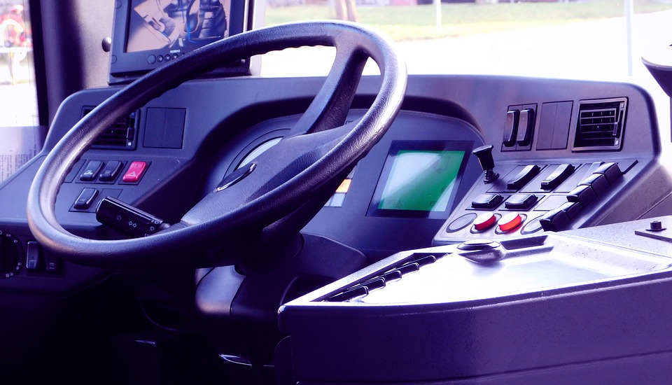 Bus, Inside, Interior, Steering Wheel