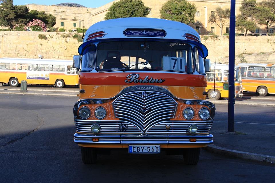 Malta, Bus, Yellow, Transport, Europe, Mediterranean