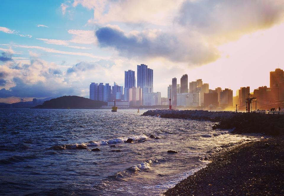 Sea, Busan, Haeundae Beach, Landscape, Beach, Sunset