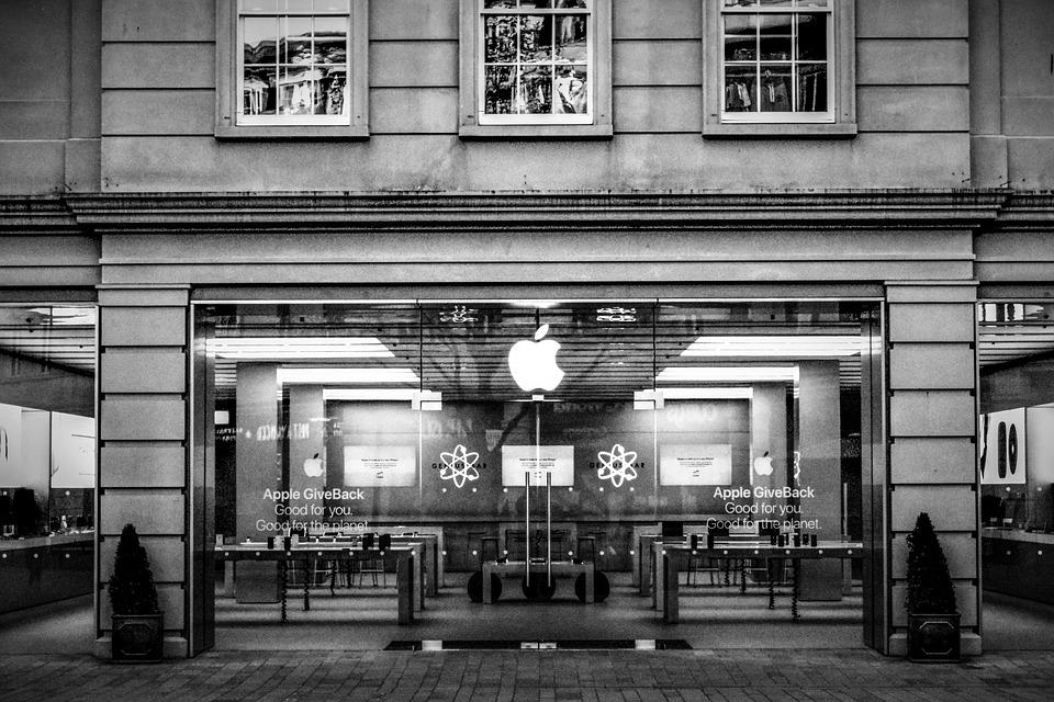 Apple, Store, Black And White, Technology, Business