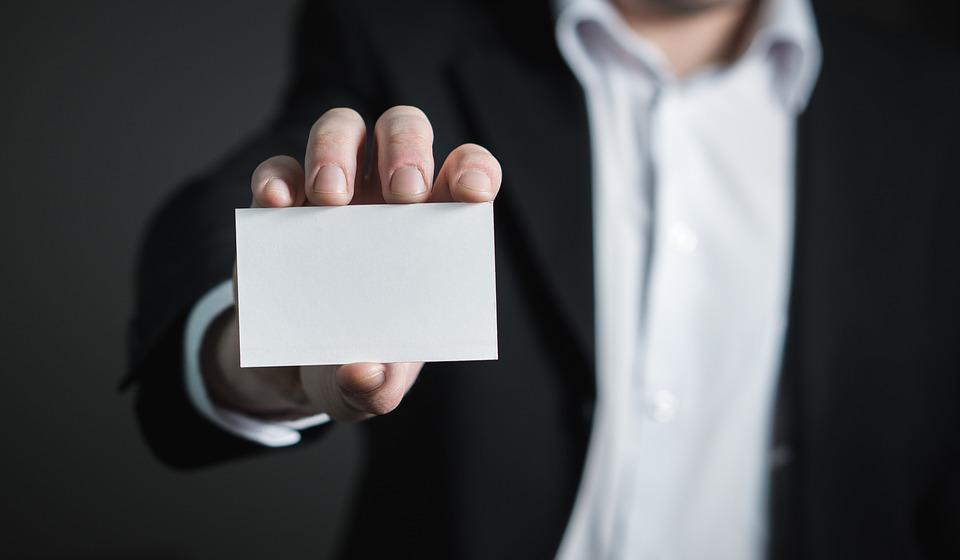 Free photo Business Card Man Suit Holding Business Hand Card - Max Pixel
