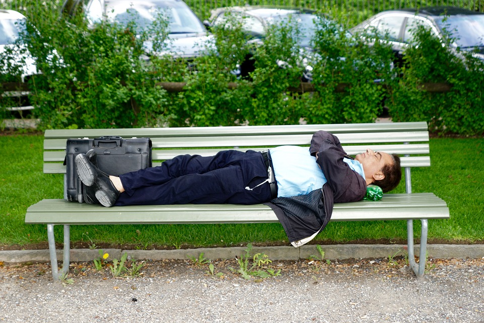 Park Bench, Business Man, Sleep, Recovery