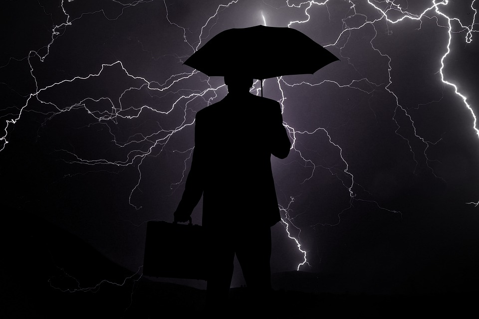 Businessman, Crisis, Rain, Flash, Bear Market, Business