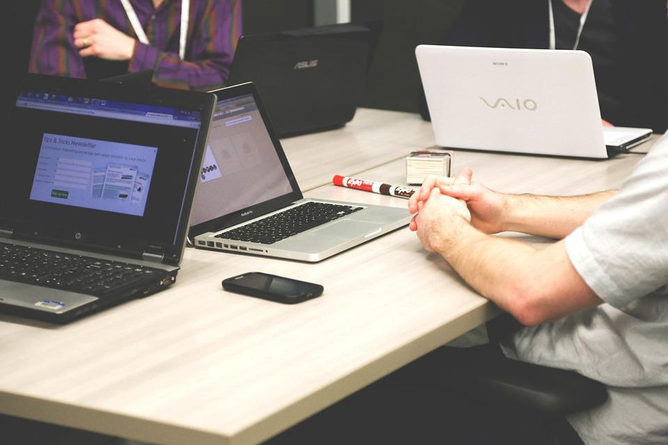 Laptops, Meeting, Businessmen, Coworkers, Colleagues