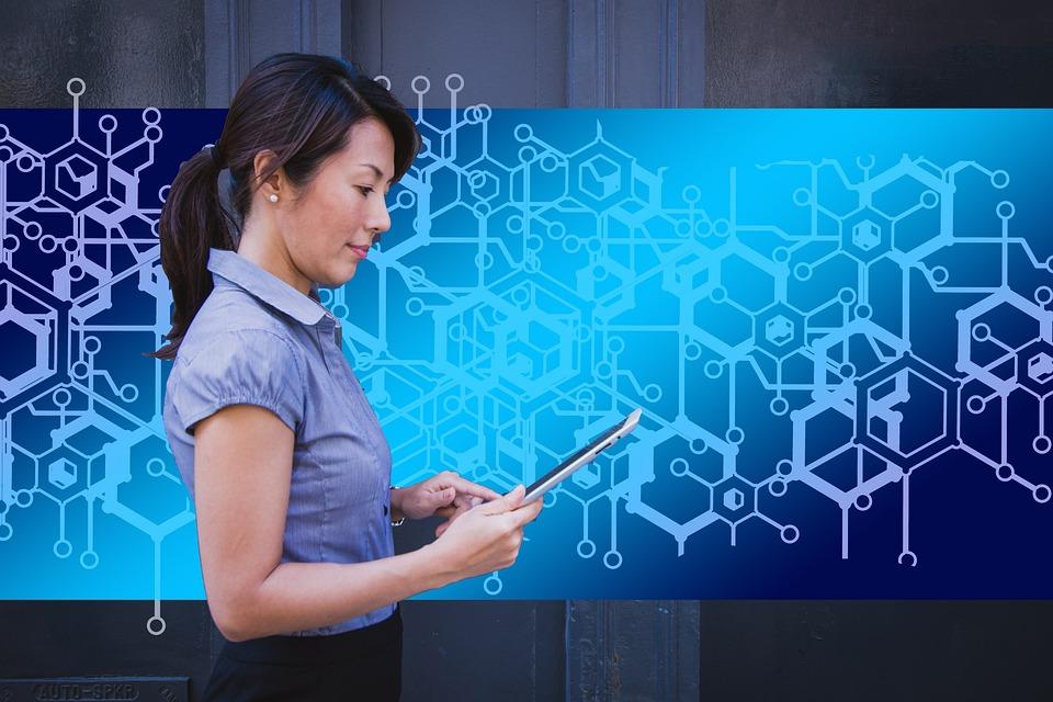 Businesswoman, Business, Block Chain, Data, Records