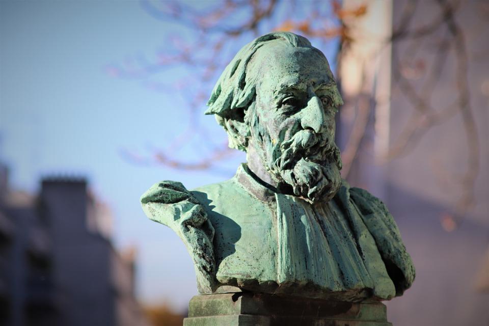 Bust, Sculpture, Bronze, Gray-green, Personality