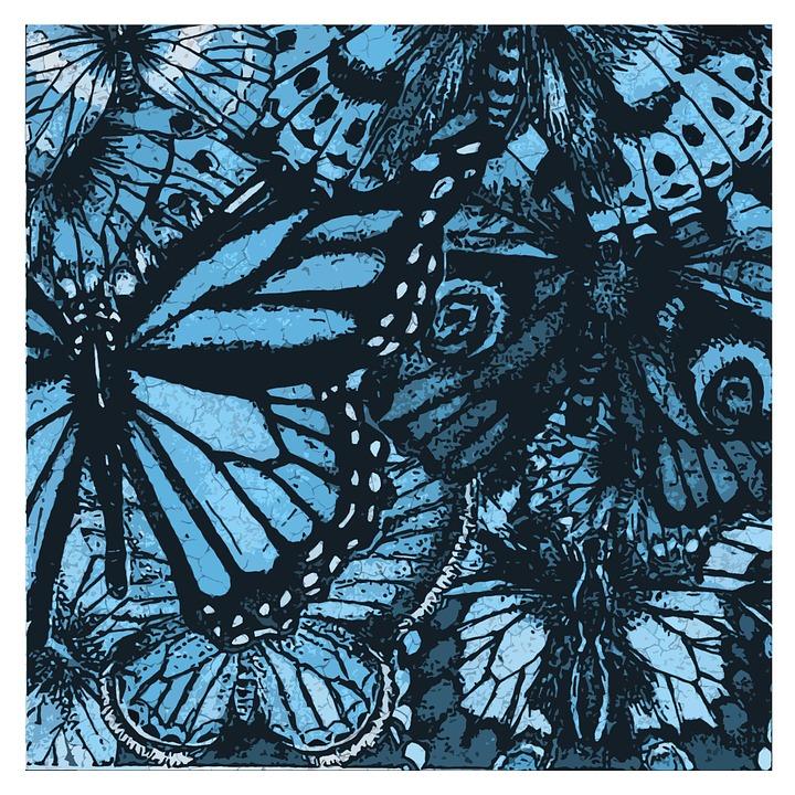 Butterflies, Collage, Blue, Teal, Art, Digital Artwork