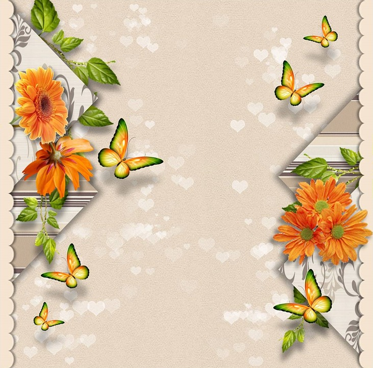 Guestbook, Greeting Card, Background, Beige, Butterfly