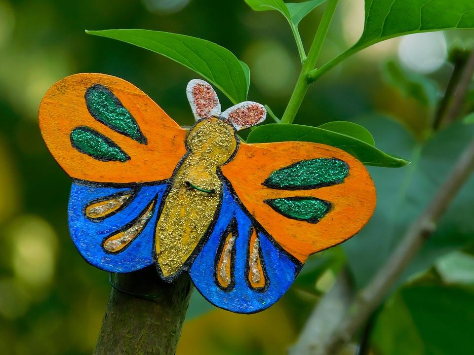 Butterfly, Garden, Deco, Decoration, Holzfigur, Fig
