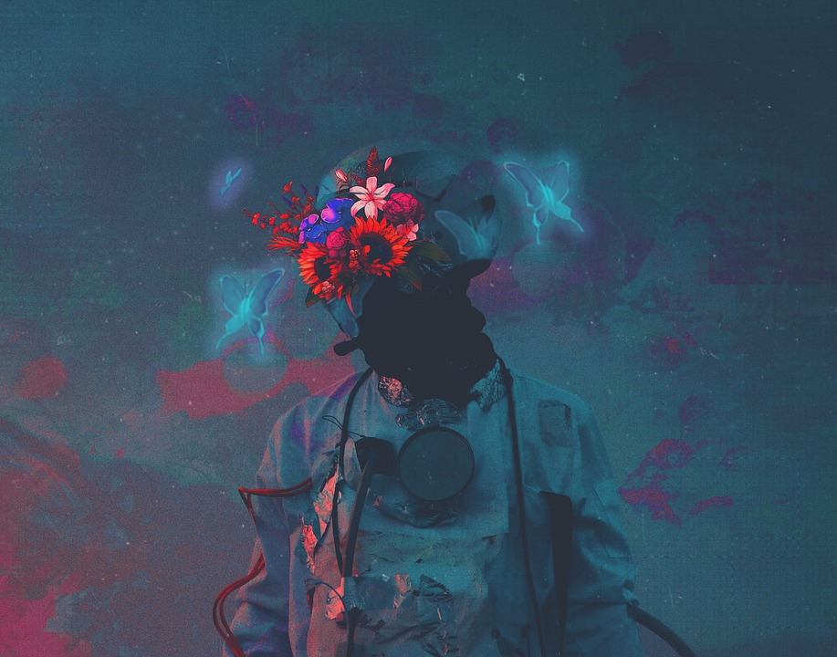 Astronaut, Galaxy, Wallpaper, Butterfly, Flowers