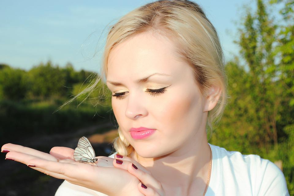 Blonde, Girl Holding Butterfly On Hand, Butterfly