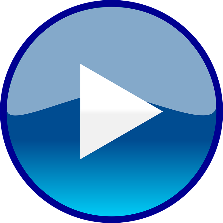 Play, Button, Round, Blue, Glossy