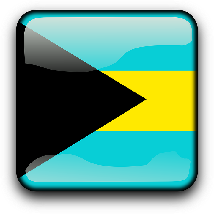 Bahamas, Flag, Country, Nationality, Square, Button