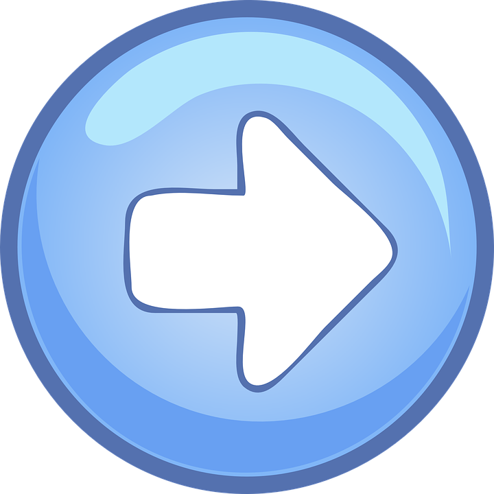 Right, Arrow, Button, Blue, Round, Glassy, Point