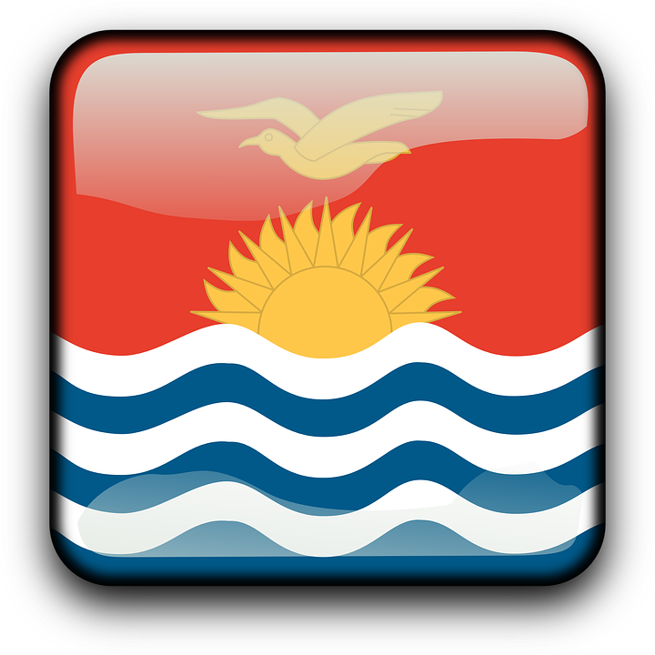 Kiribati, Flag, Country, Nationality, Square, Button
