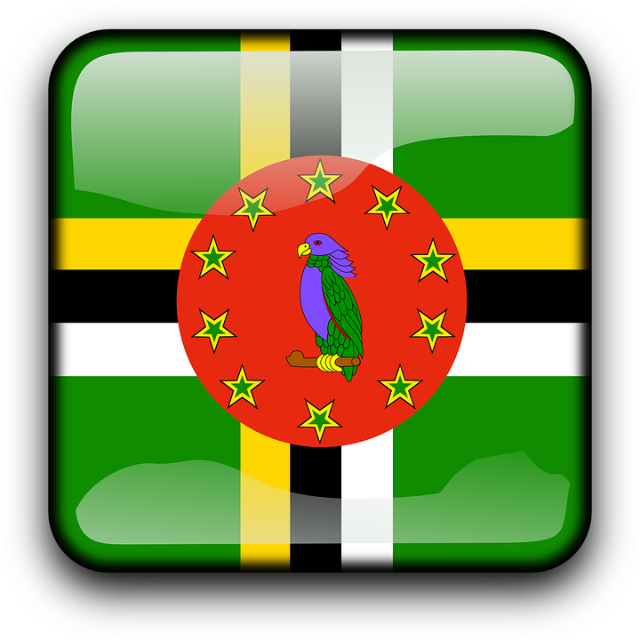 Dominica, Flag, Country, Nationality, Square, Button