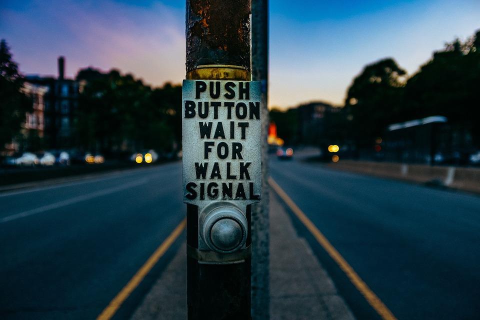 Button, Pole, Steel, Traffic, Light, Street, Road, Dark