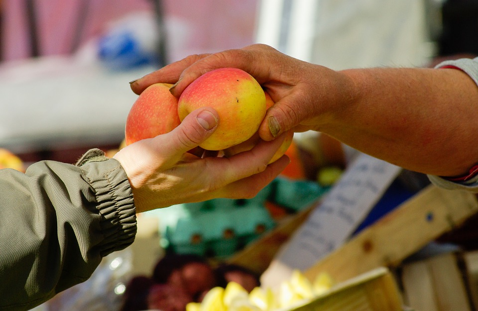 Apples, Market, Saleswoman, Buyer, Hands