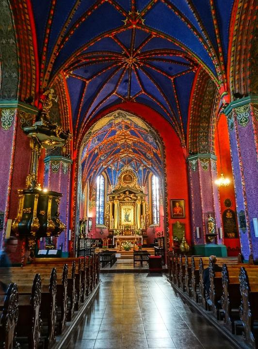 Bydgoszcz, Cathedral, Interior, Church, Colorful, Decor