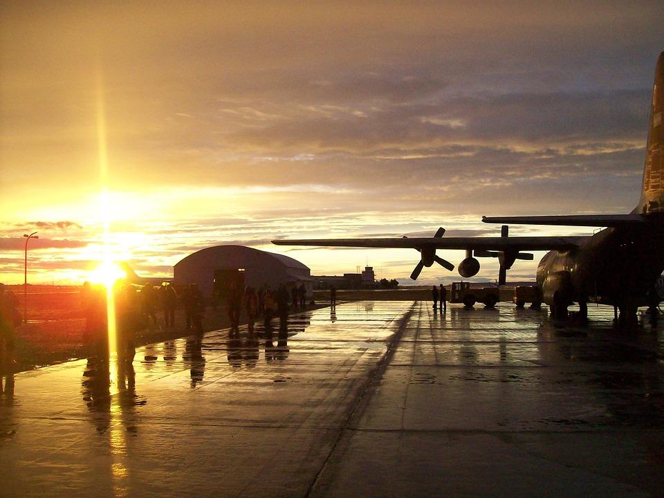 Airport, Hercules, Sunset, C130, Plane, Military