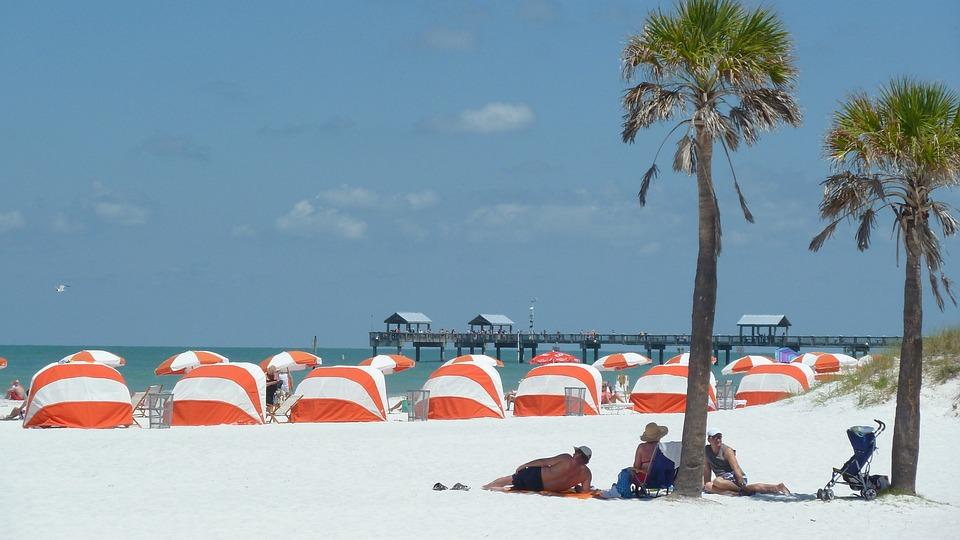 Beach, Sandy Beach, Holiday, Sea, Cabanas, Palms