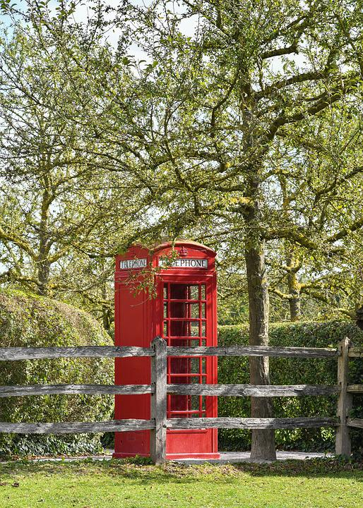 Phone, Cabin, Red, British, Communication, Green, Tree