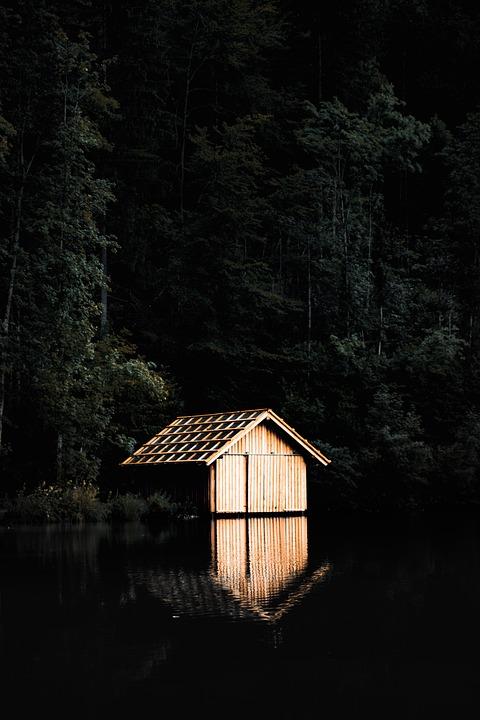 Cabin, Brown, Lake, Nature, Rural, Peaceful, Scenic