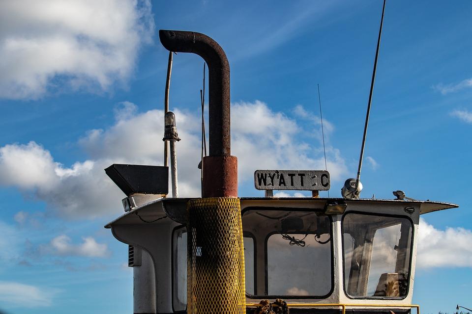 Cabin, Smokestack, Tugboat, Boat, Harbor, Maritime