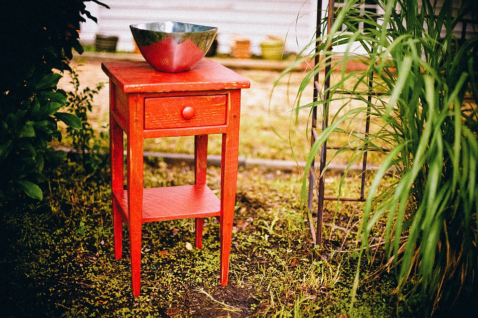 End Table, Drawer, Rustic, Cabinet, Red, Furniture