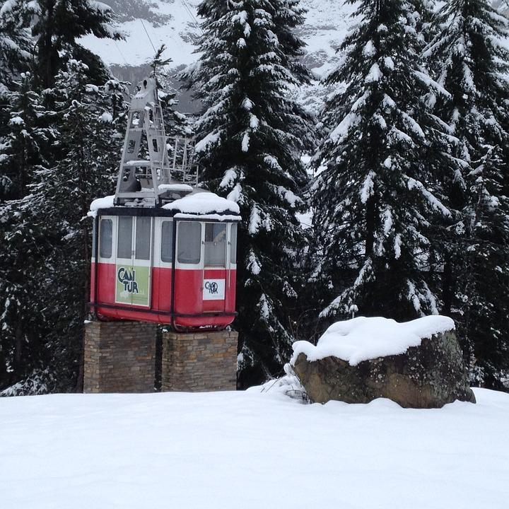 Cable Car, Cable, Cantabria, Bridge, Of, Snow, Winter