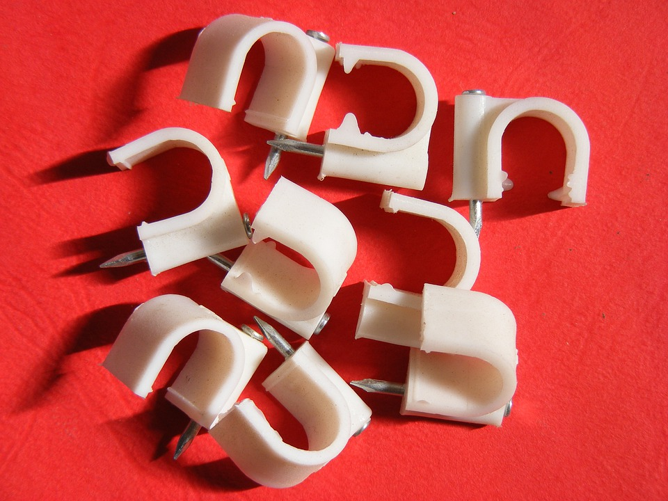 Accessories, Cable, Cables, Clips, Nail, Round, White