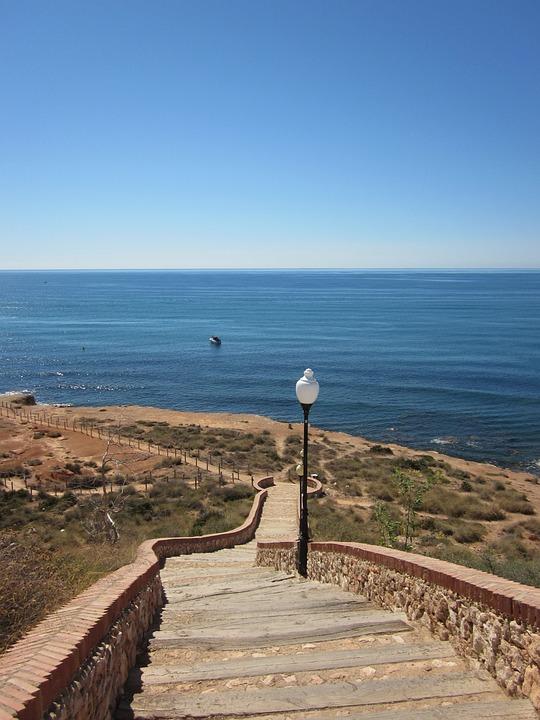 Landscape, Sea, Sky, Cabo Roig, Beach Walk