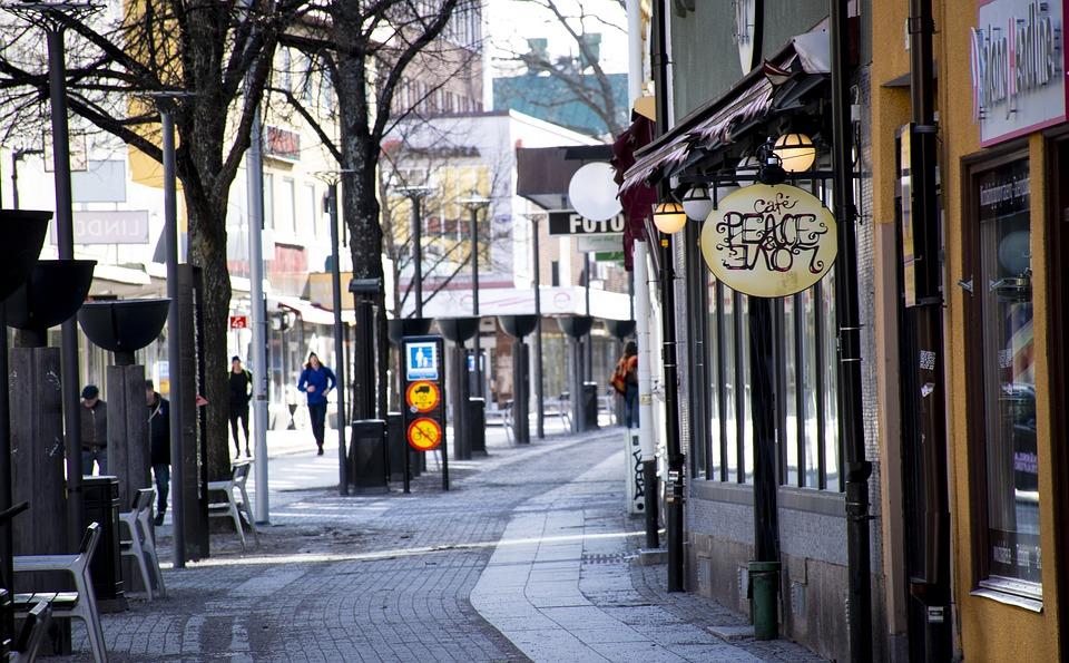 Street, Borlänge, City, Café, Exterior