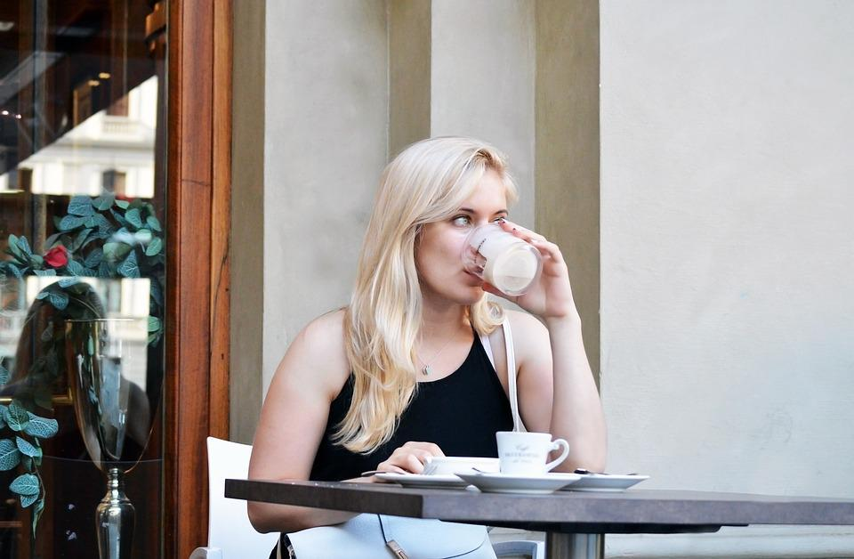 Beautiful, Blonde, Girl, Young, Woman, Cafe, Drinking