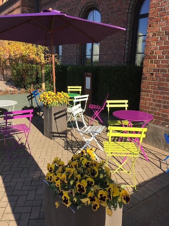 Café, Colors, Chairs, Yellow, Purple, Flowers