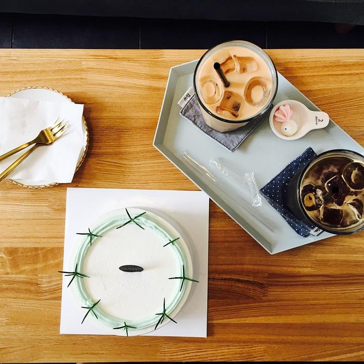 Cafe, Cake, Americano, Drinks, Cafe Latte, Romantic