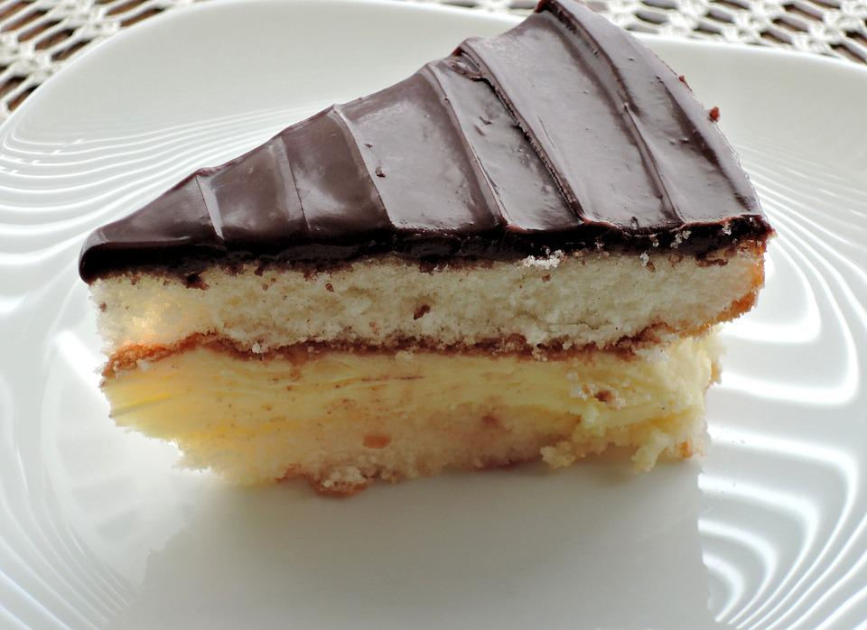 Cake, Slice, Egg Custard, Chocolate, Ganache, Food