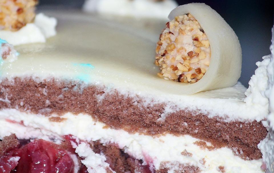 Cake, Wedding Cake, Marzipan, Black Forest Cherry