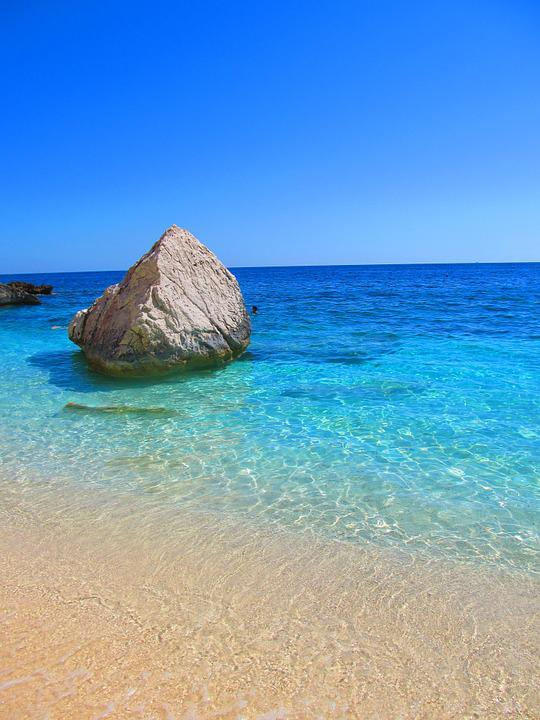 Sardinia, Cala Mariolu, Sea, Water, Beach, Rock, Italy