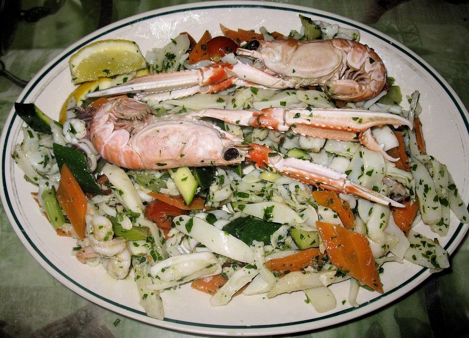 Fish Salad, Shell Fish, Peppers, Shrimp, Calamari