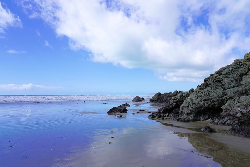 Blue Sky, Beach, California, Tide Pool, Coast, Water